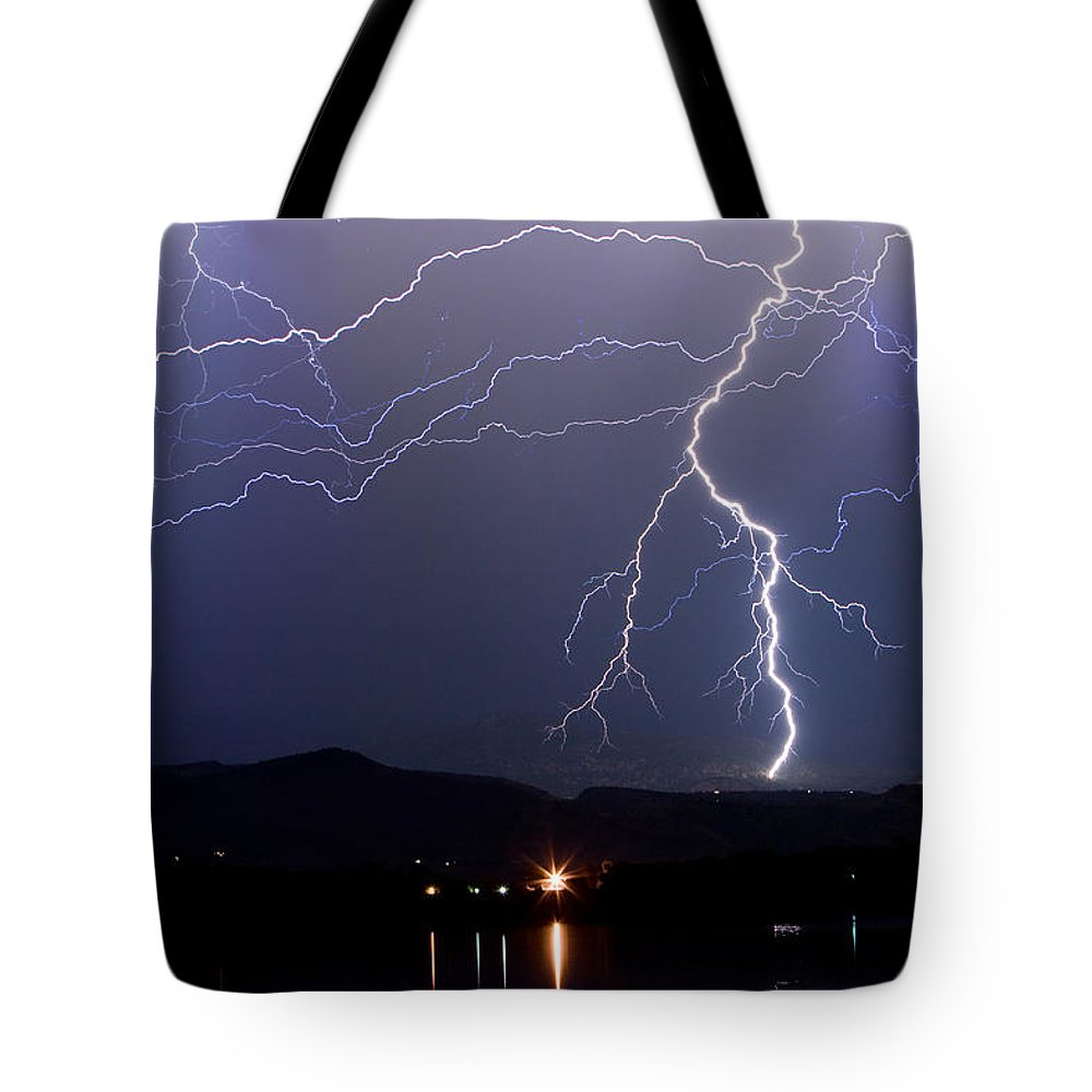 Lightning Tote Bag featuring the photograph Major Foothills Lightning Strikes by James BO Insogna