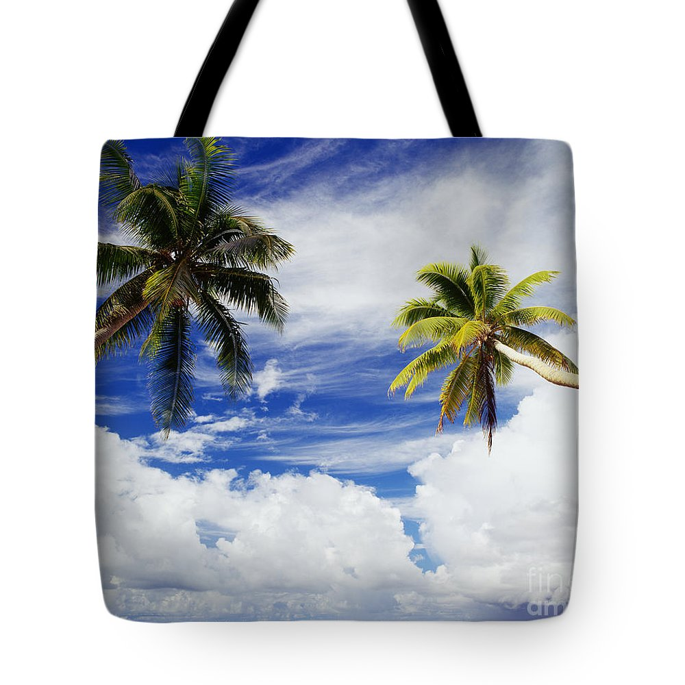 Afternoon Tote Bag featuring the photograph Majuro Atoll, Two Coconut Trees Lean Over by Mitch Warner - Printscapes