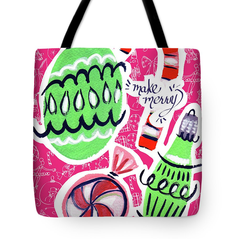 Christmas Tote Bag featuring the mixed media Make Merry by Kristy Lankford