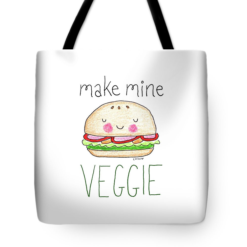 Veggie Burger Tote Bag featuring the drawing Make Mine Veggie by Ashley Lucas