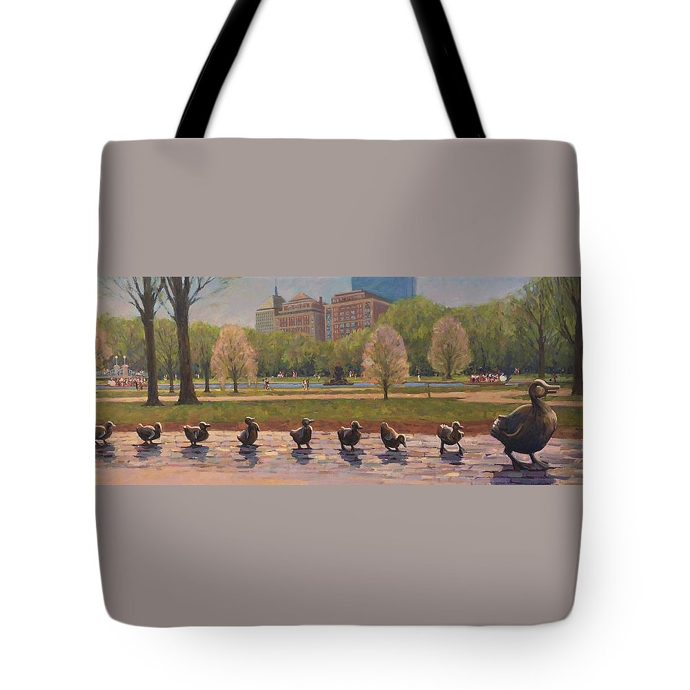 Ducklings Tote Bag featuring the painting Make Way For Ducklings by Dianne Panarelli Miller