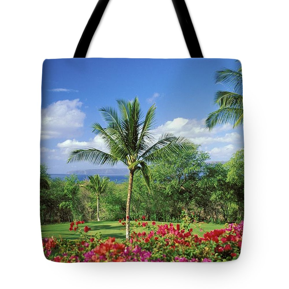 Afternoon Tote Bag featuring the photograph Makena Beach Golf Course by Peter French - Printscapes
