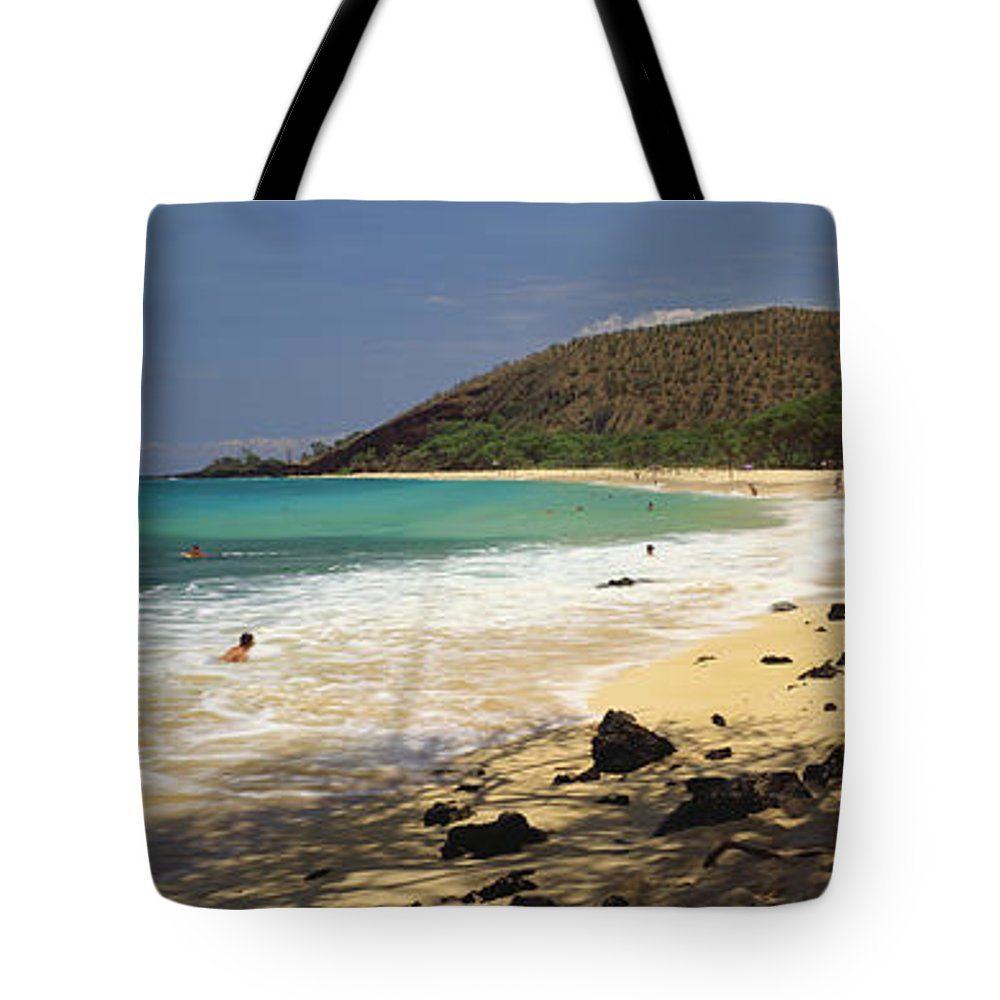 Beach Tote Bag featuring the photograph Makena Beach Panorama by Carl Shaneff - Printscapes