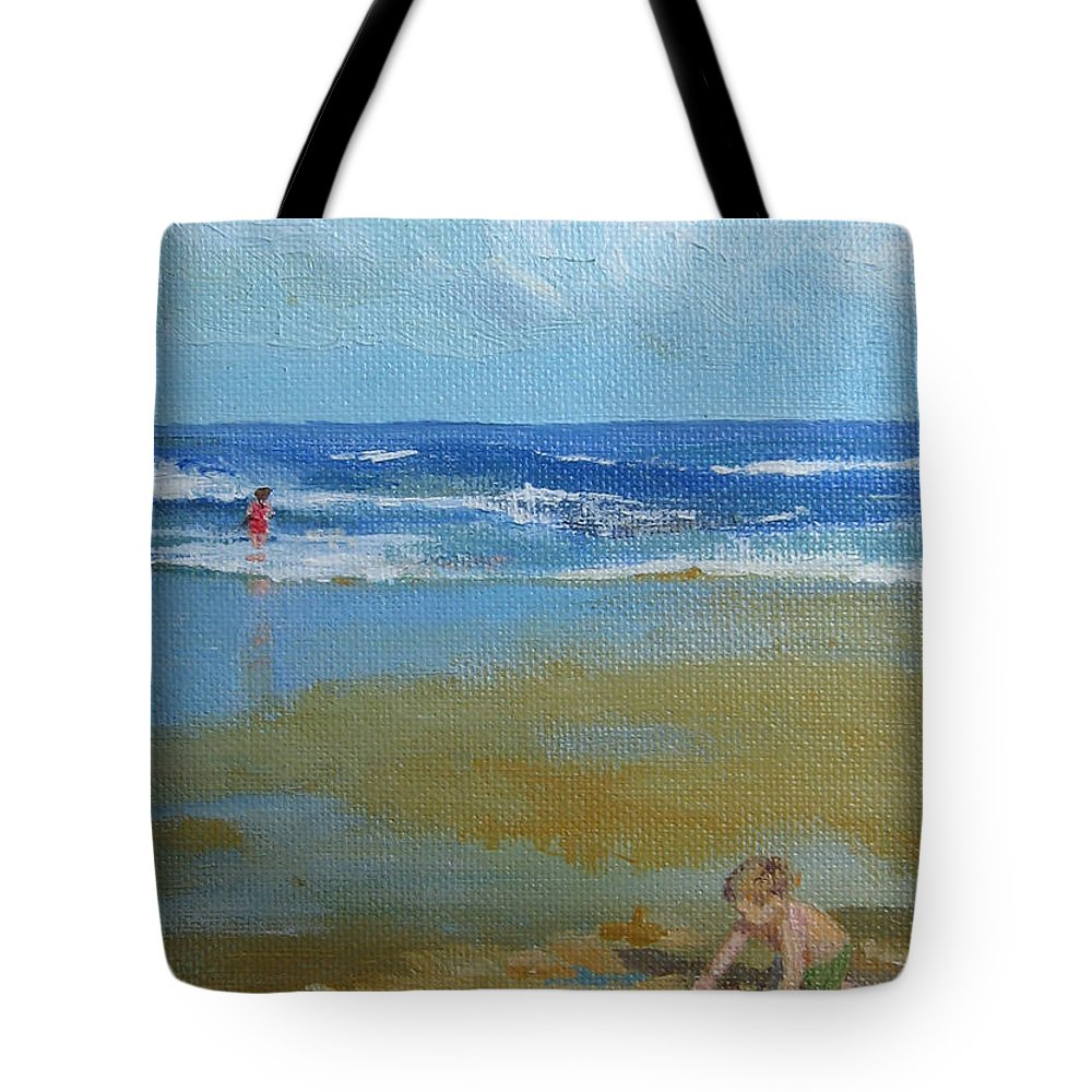 Leslie Mcgrath Tote Bag featuring the painting making castles on Salisbury Beach by Leslie Alfred McGrath