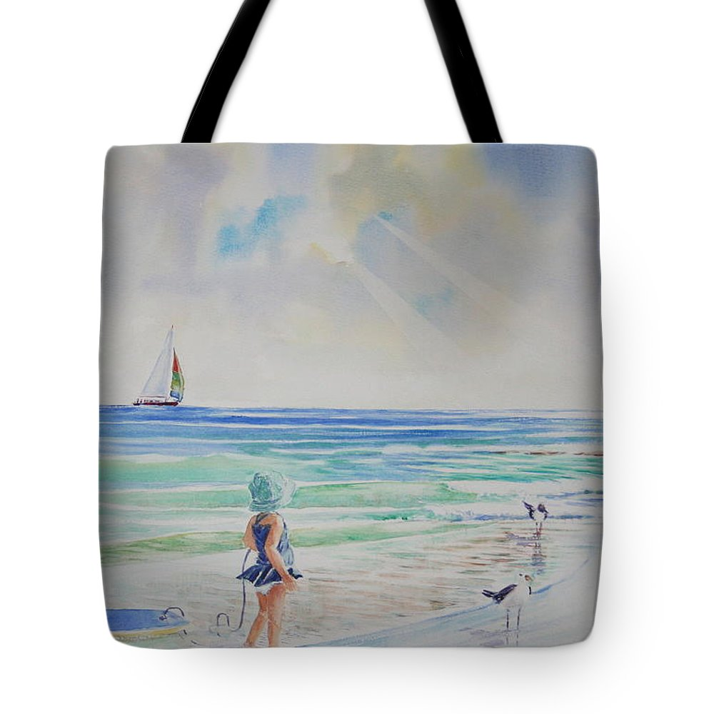 Beach Tote Bag featuring the painting Making Friends At The Beach by Tom Harris