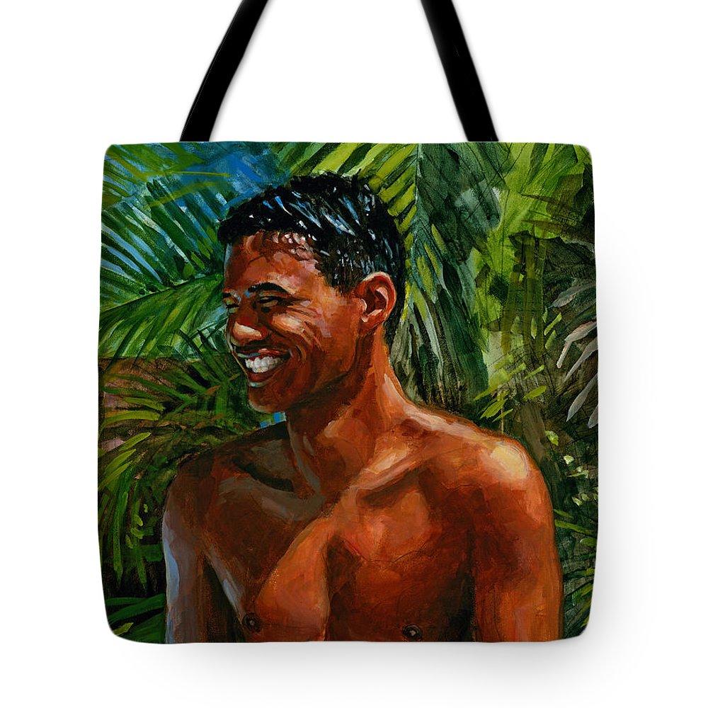 Hawaiian Tote Bag featuring the painting Making Nohea Laugh by Douglas Simonson