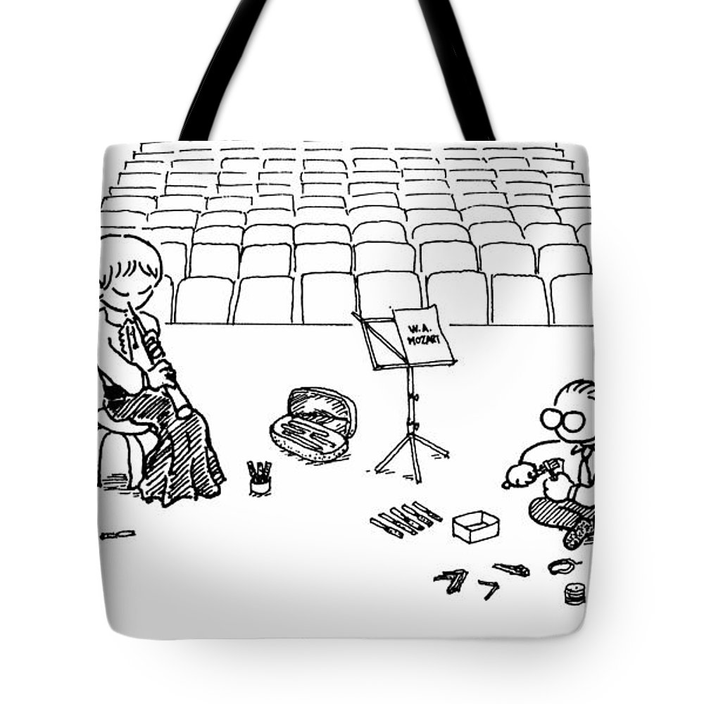Oboe Tote Bag featuring the drawing Making Oboe Reeds On The Stage by Minami Daminami