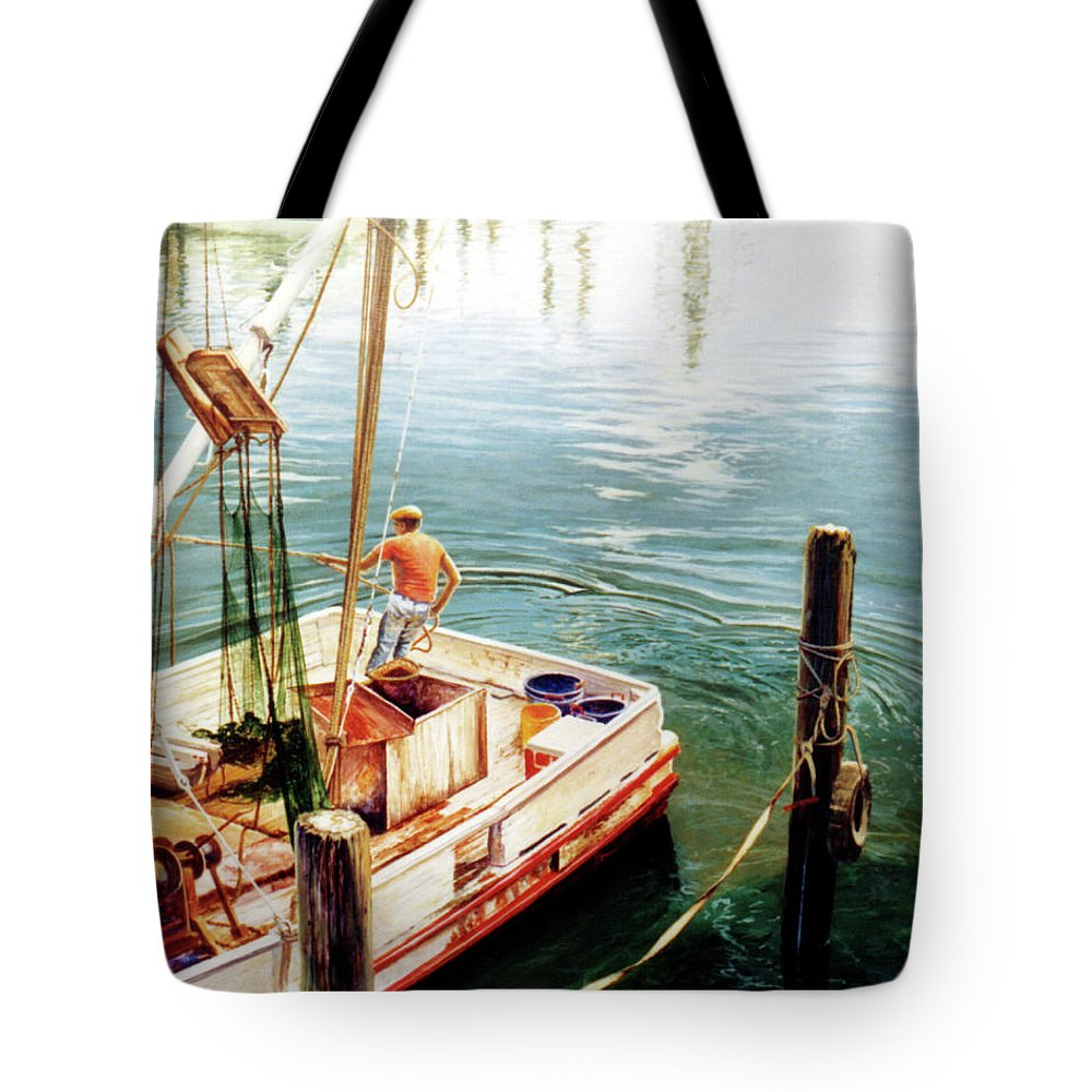 Fishing Tote Bag featuring the painting Making Ready by Randy Welborn