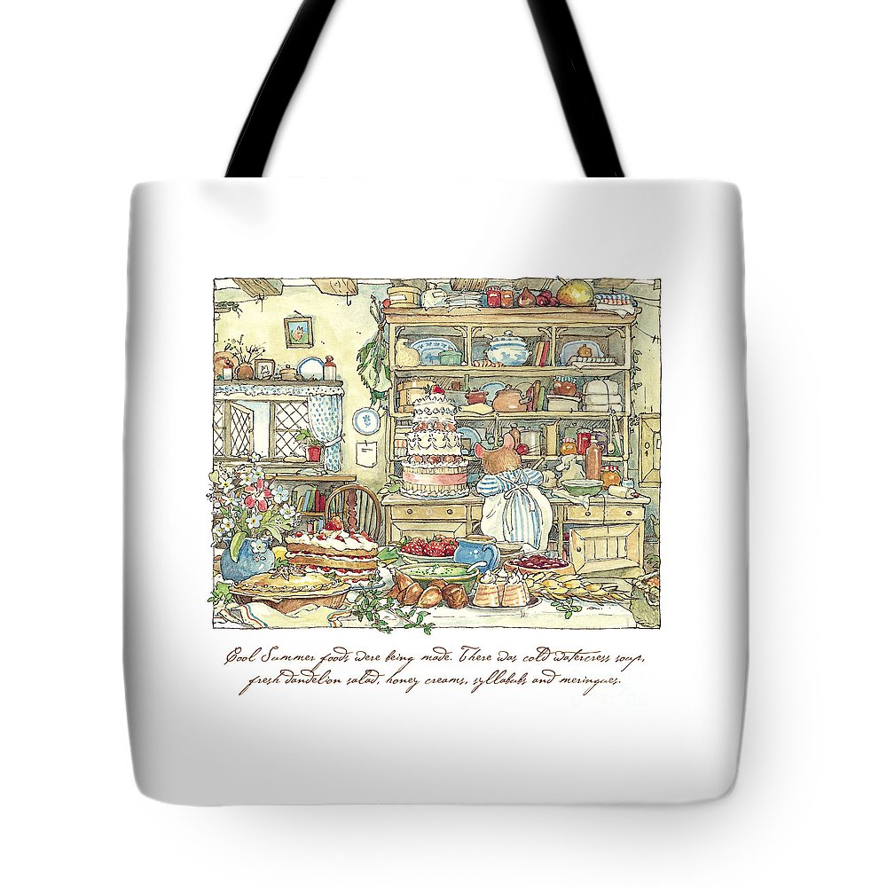 Brambly Hedge Tote Bag featuring the drawing Making The Wedding Cake by Brambly Hedge