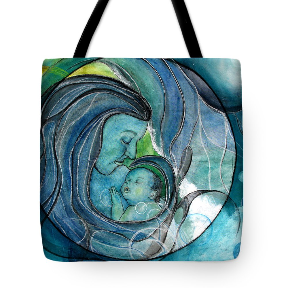 Mom Tote Bag featuring the painting Makuahine by Kimberly Kirk