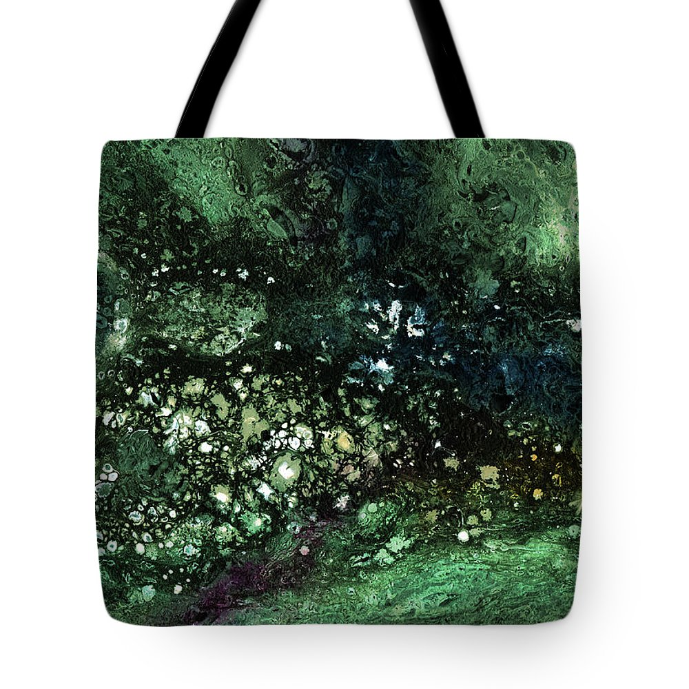 Green Tote Bag featuring the mixed media Malachite- Abstract Art By Linda Woods by Linda Woods
