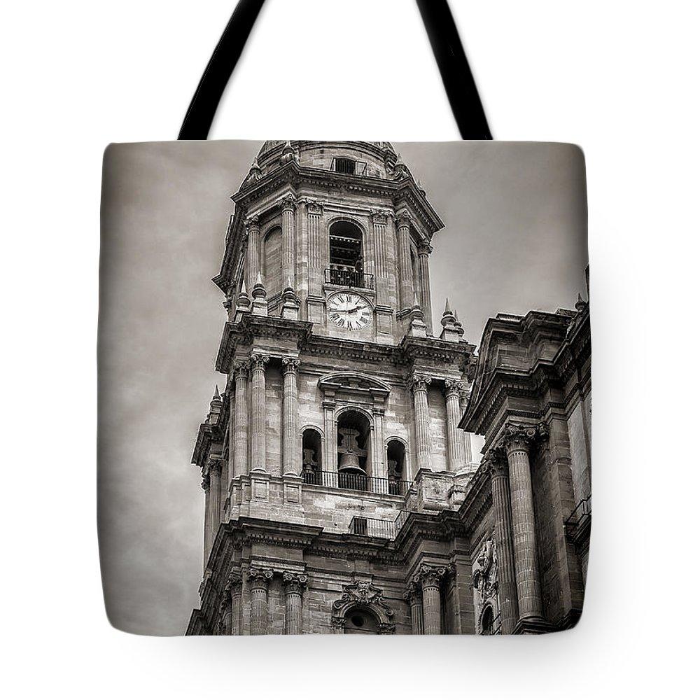 Malaga Cathedral Tote Bag featuring the photograph Malaga Cathedral by John Tremayne Baker