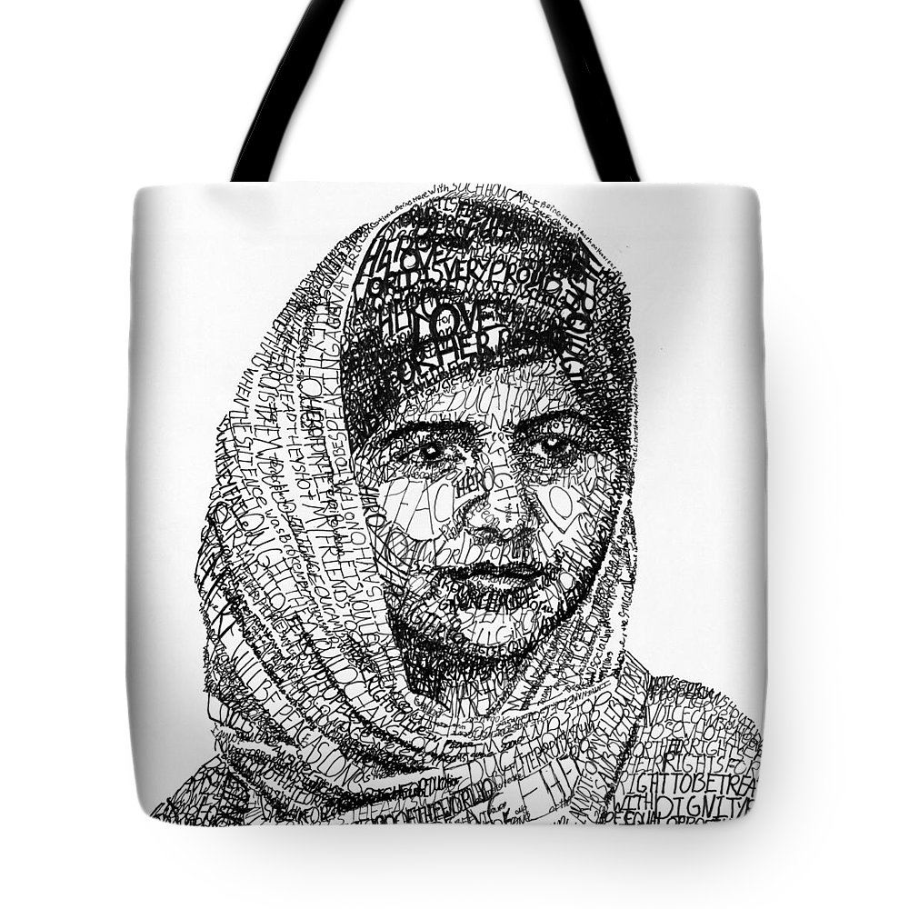 Girl Tote Bag featuring the drawing Malala Yousafzai by Michael Volpicelli