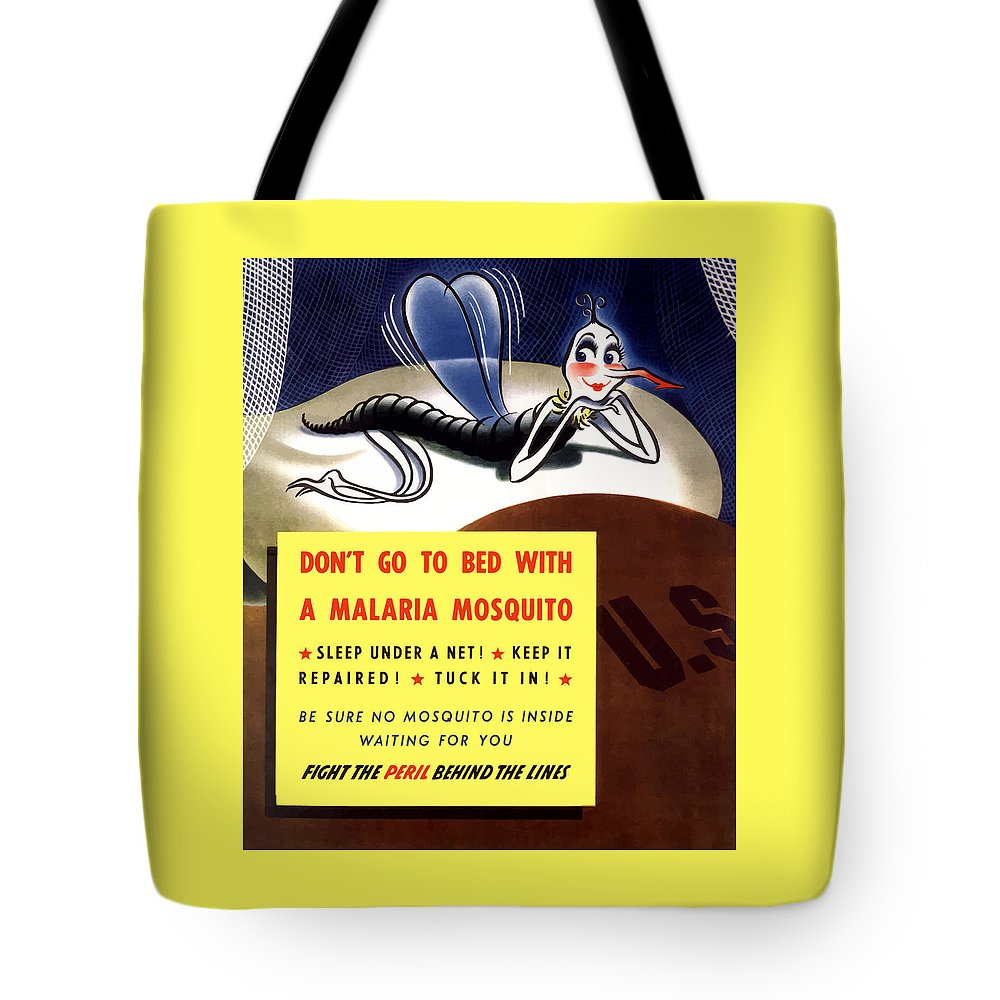 Mosquito Tote Bag featuring the painting Malaria Mosquito by War Is Hell Store