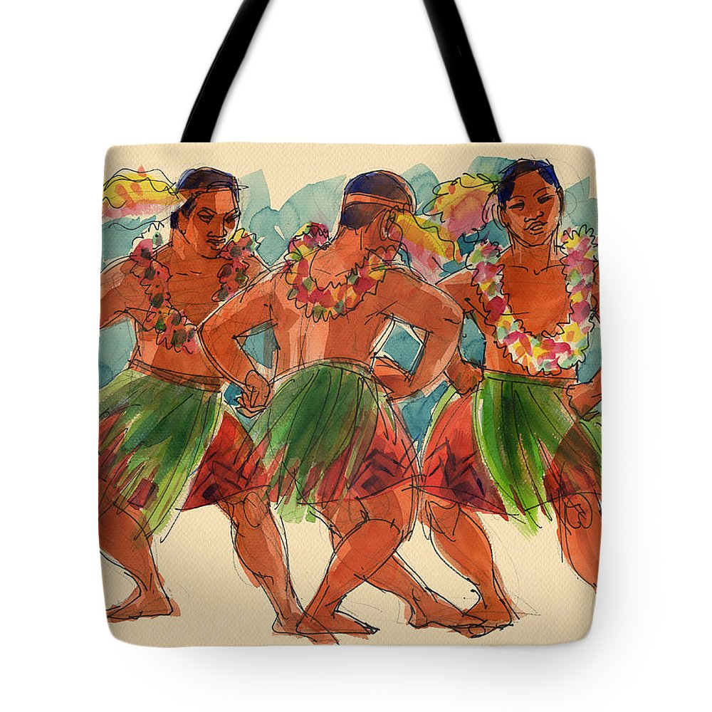 Dancers Tote Bag featuring the painting Male Dancers Of Lifuka, Tonga by Judith Kunzle