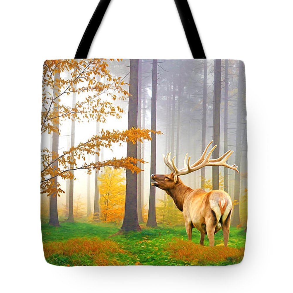 Elk Tote Bag featuring the photograph Male Elk Bugling by Laura D Young