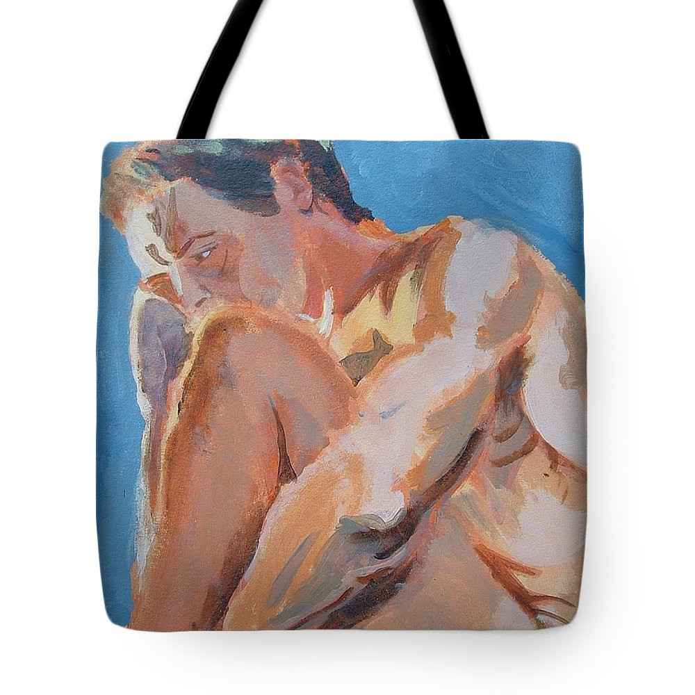 Male Nude Tote Bag featuring the painting Male Nude Painting by Mike Jory