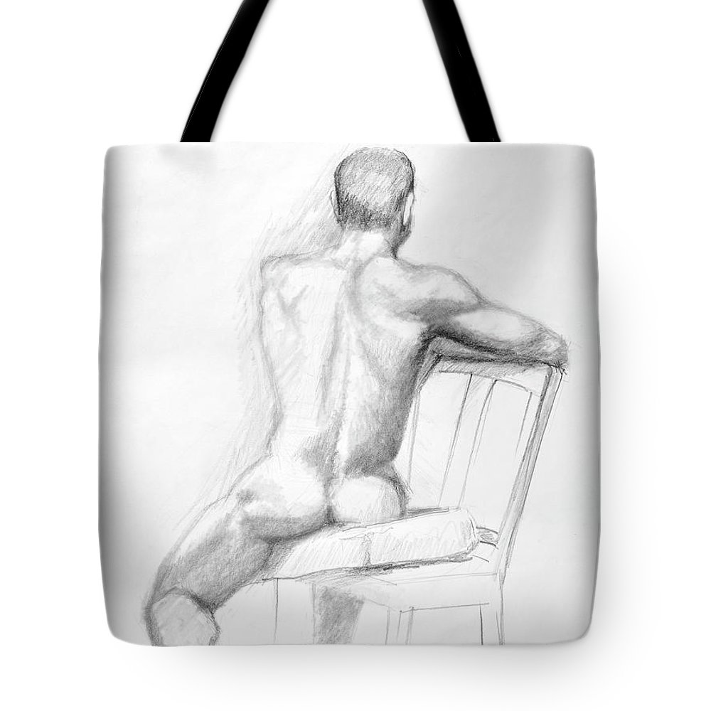 Male Tote Bag featuring the drawing Male Nude With Chair by Keith Burgess