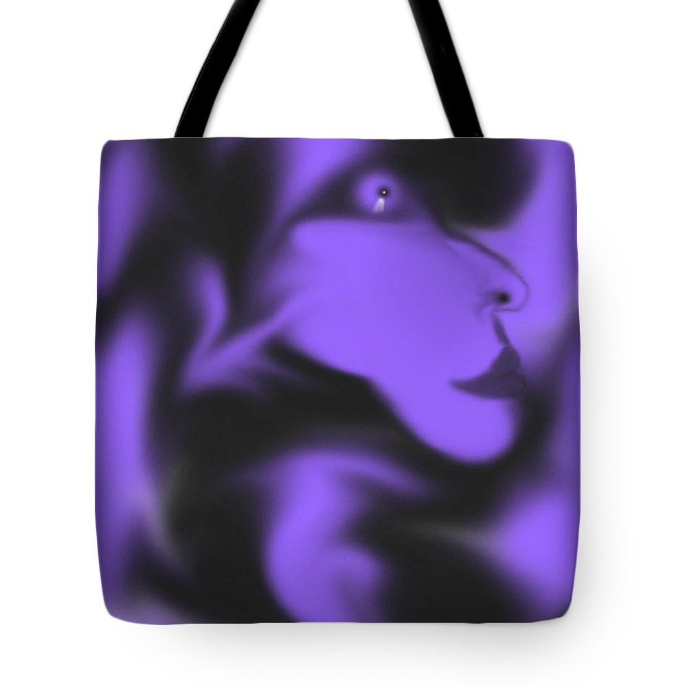 Space Face Purple Alien Imagination Black Outerspace Tote Bag featuring the digital art Male Space Face by Andrea Lawrence