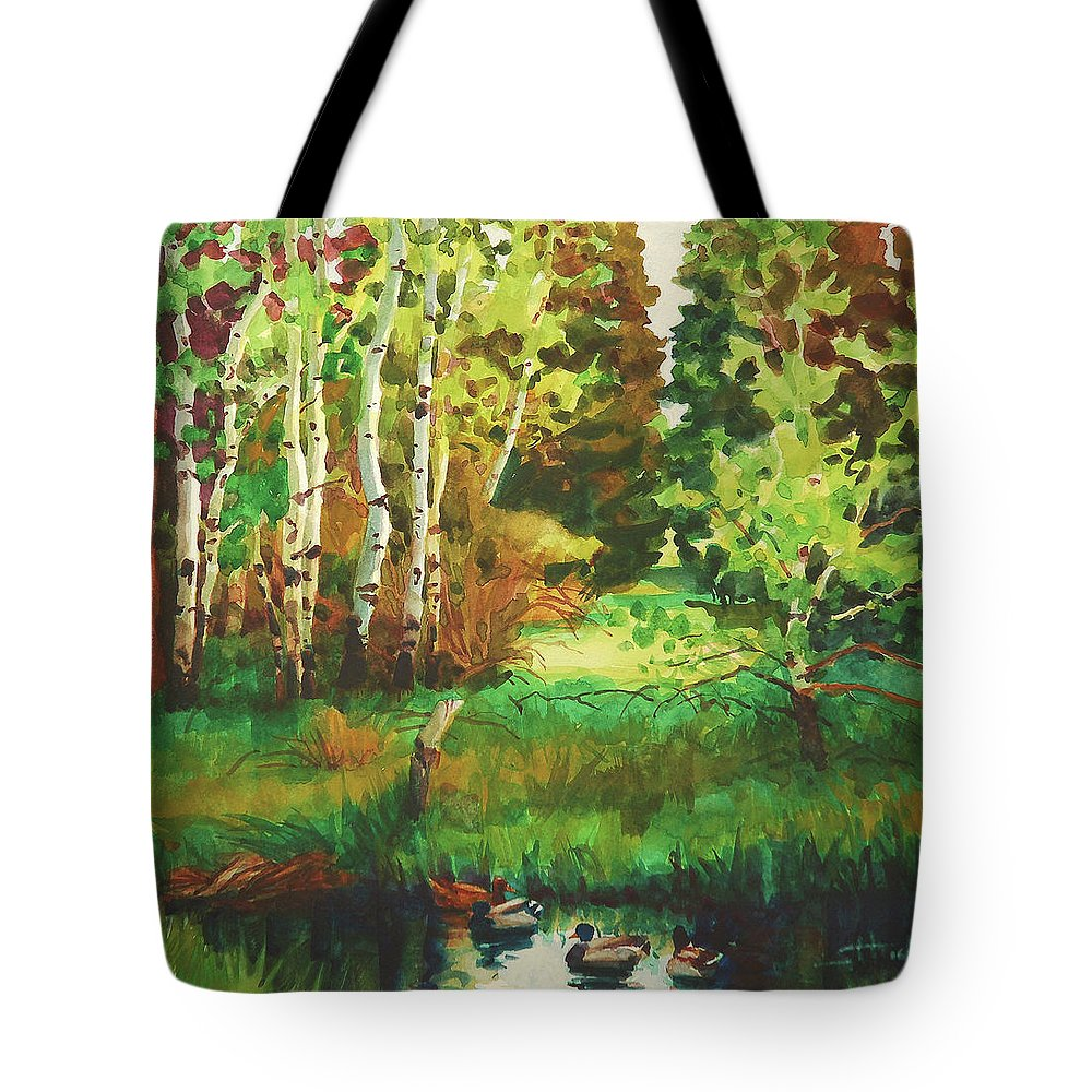 Country Tote Bag featuring the painting Mallard Grove by Steve Henderson