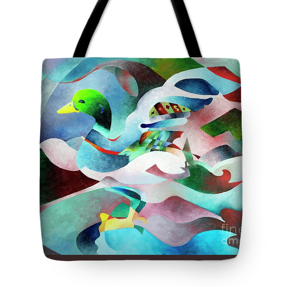 Duck Tote Bag featuring the painting Mallard by Sally Trace