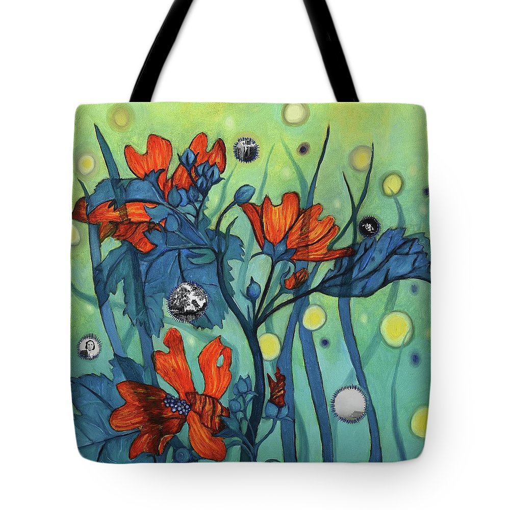 Vintage Tote Bag featuring the painting Mallow With Grass And Green by Margaret Shipman