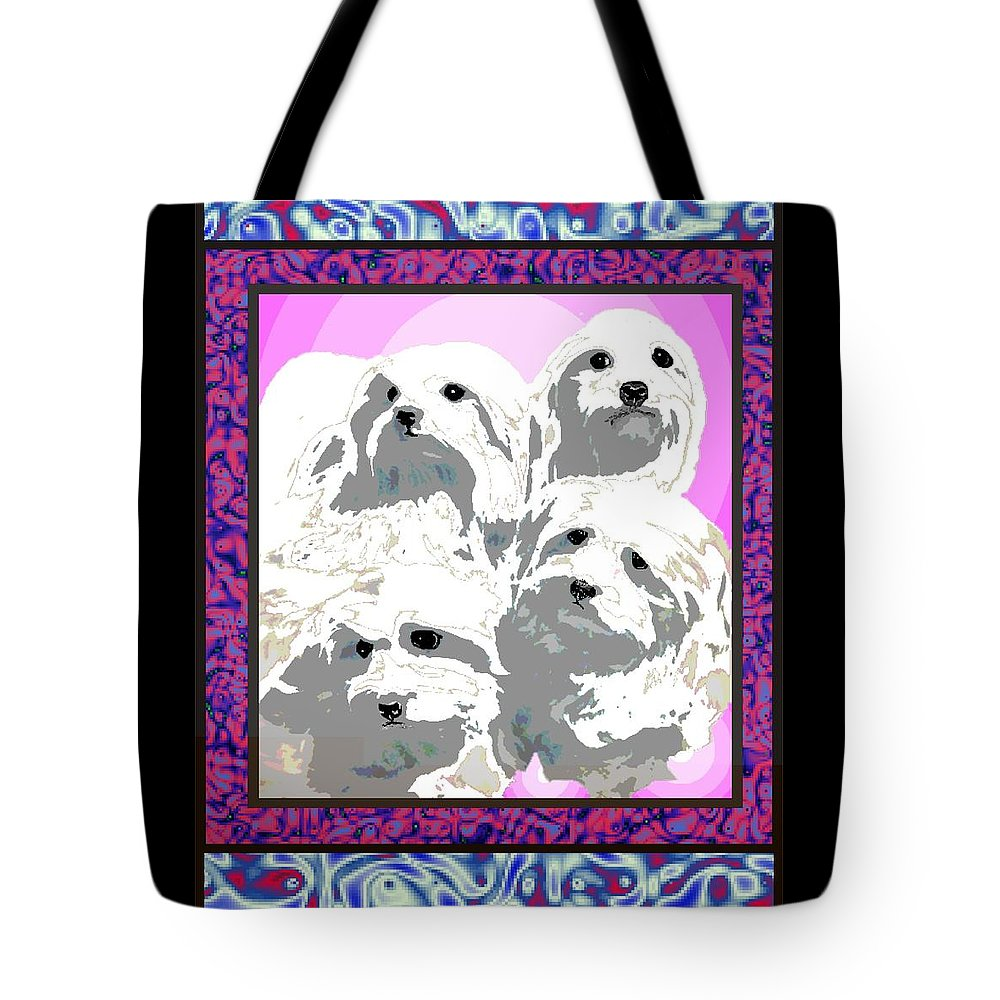 Maltese Group Tote Bag featuring the digital art Maltese Group by Kathleen Sepulveda