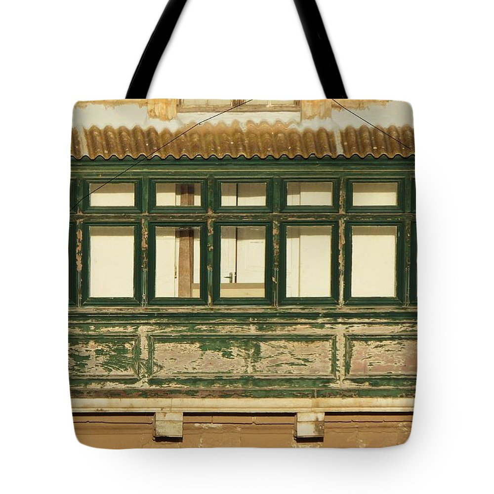 Balcony Tote Bag featuring the photograph Maltese Wooden Enclosed Balcony And Windows by Barbara Ebeling