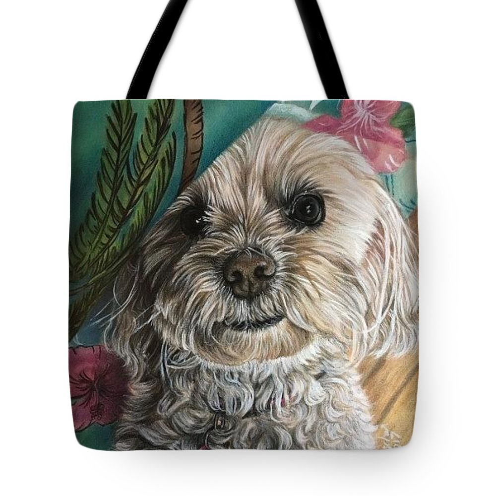 Malti-poo Tote Bag featuring the drawing Malti-poo Peek-a-boo by Debbie Fischer