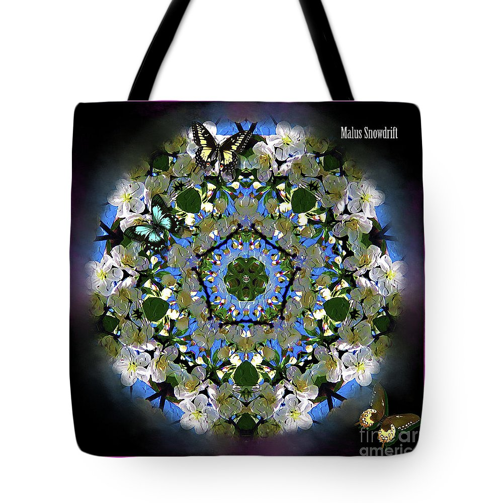 Digital Tote Bag featuring the digital art Malus Snowdrift by Kathryn Strick