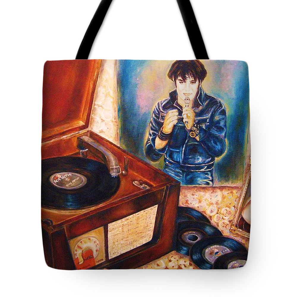 Elvis Tote Bag featuring the painting Mama Loved The Roses by Carole Spandau