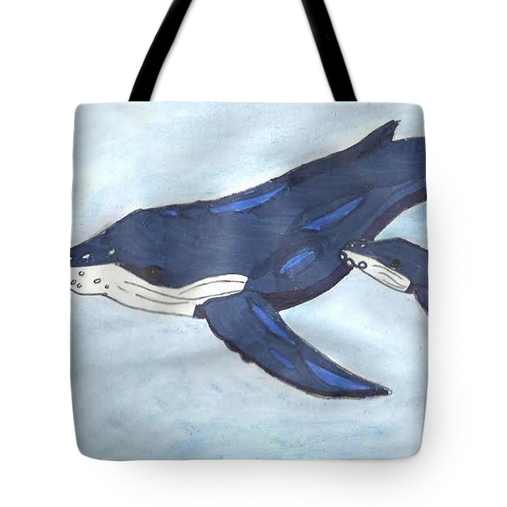 Ocean Tote Bag featuring the mixed media Mama Whale by Emily Victoria