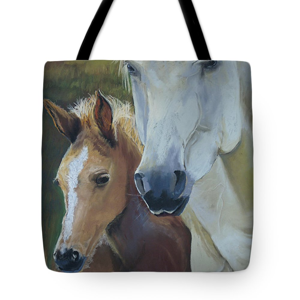 Horses Tote Bag featuring the painting Mama's Boy by Heather Coen