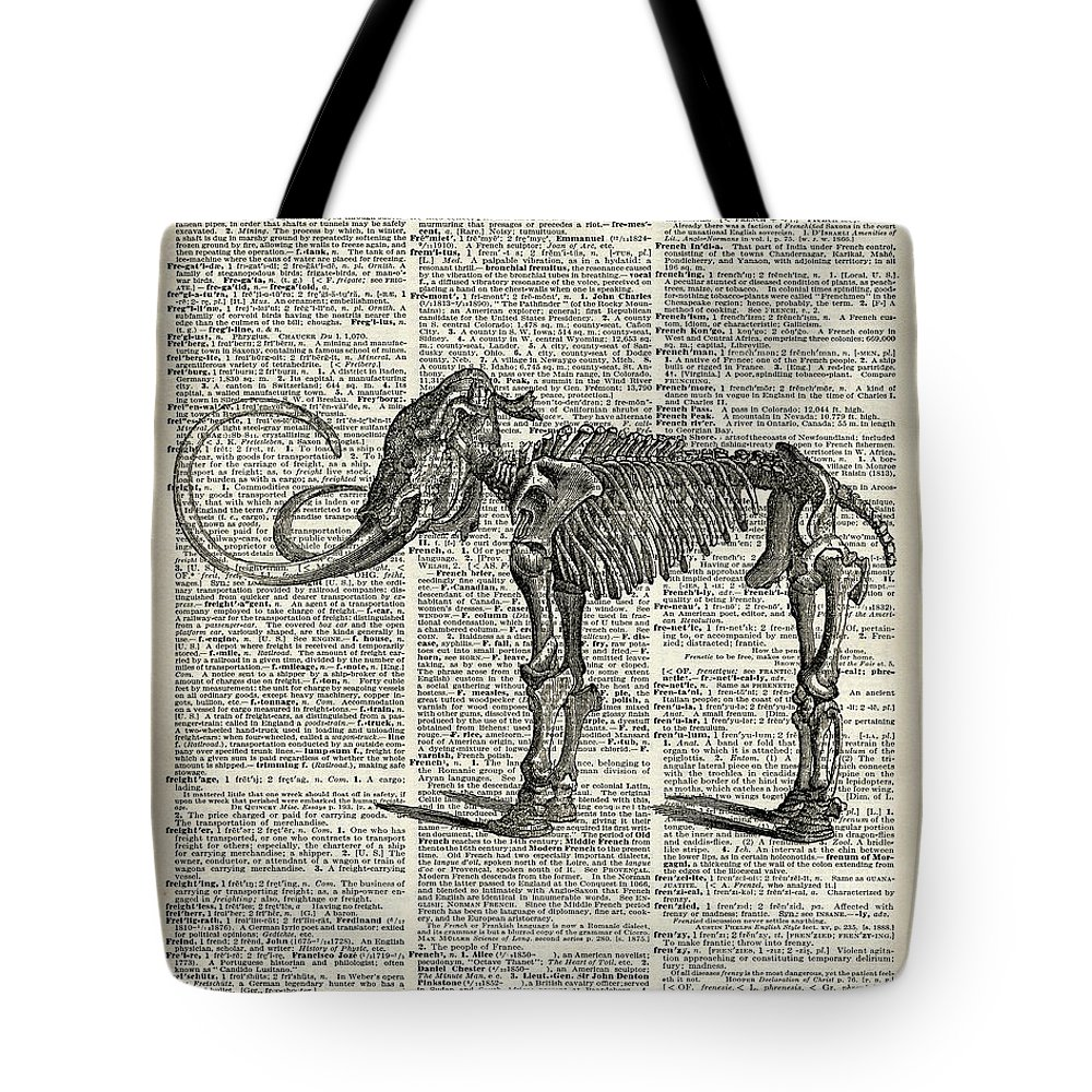 Mammoth Tote Bag featuring the mixed media Mammoth Elephant Bones Over A Antique Dictionary Book Page by Anna W
