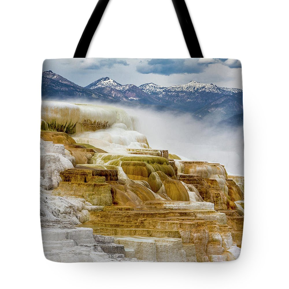 Alternative Energy Tote Bag featuring the photograph Mammoth Hot Springs In Yellowstone National Park, Wyoming. by Addy Ho
