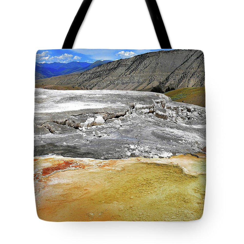 Yellowstone Tote Bag featuring the photograph Mammoth Hot Springs1 by Hughes Country Roads Photography
