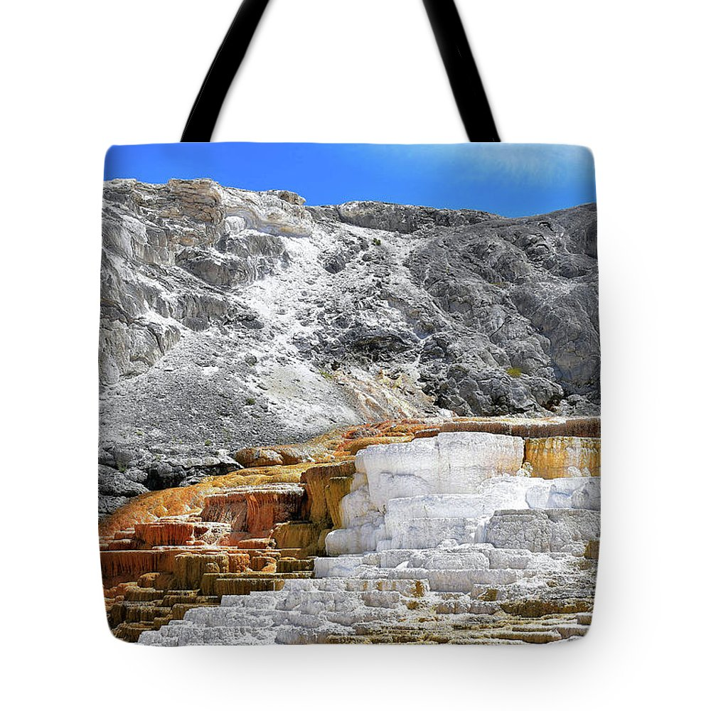 Yellowstone Tote Bag featuring the photograph Mammoth Hot Springs3 by Hughes Country Roads Photography