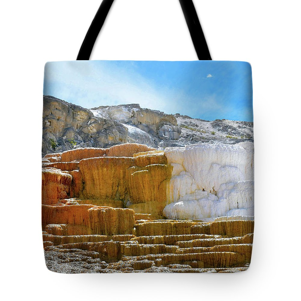 Yellowstone Tote Bag featuring the photograph Mammoth Hot Springs4 by Hughes Country Roads Photography