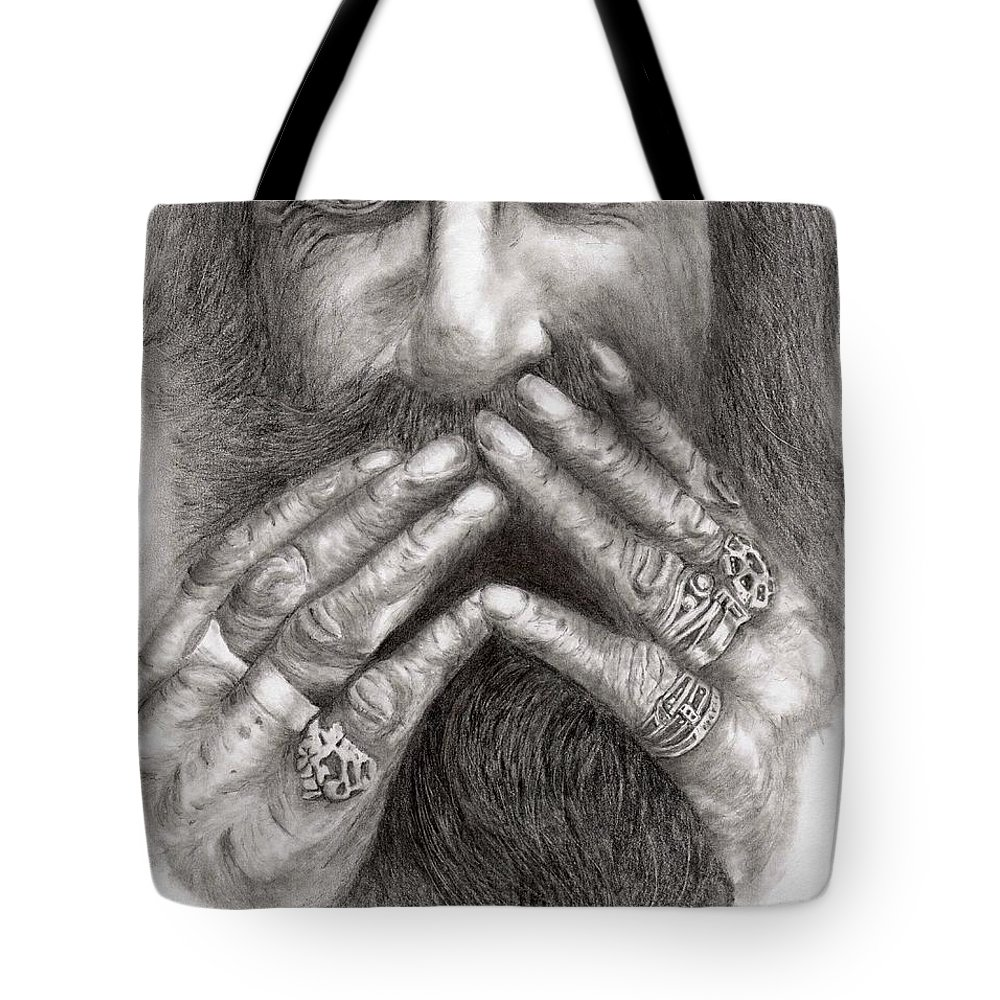 Happy Tote Bag featuring the drawing Man Alive by Kevin Pigg