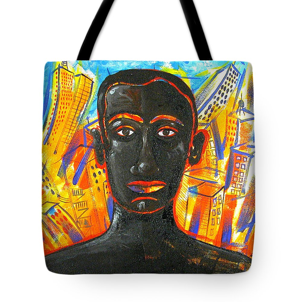 Man Tote Bag featuring the painting Man and The City by Rollin Kocsis
