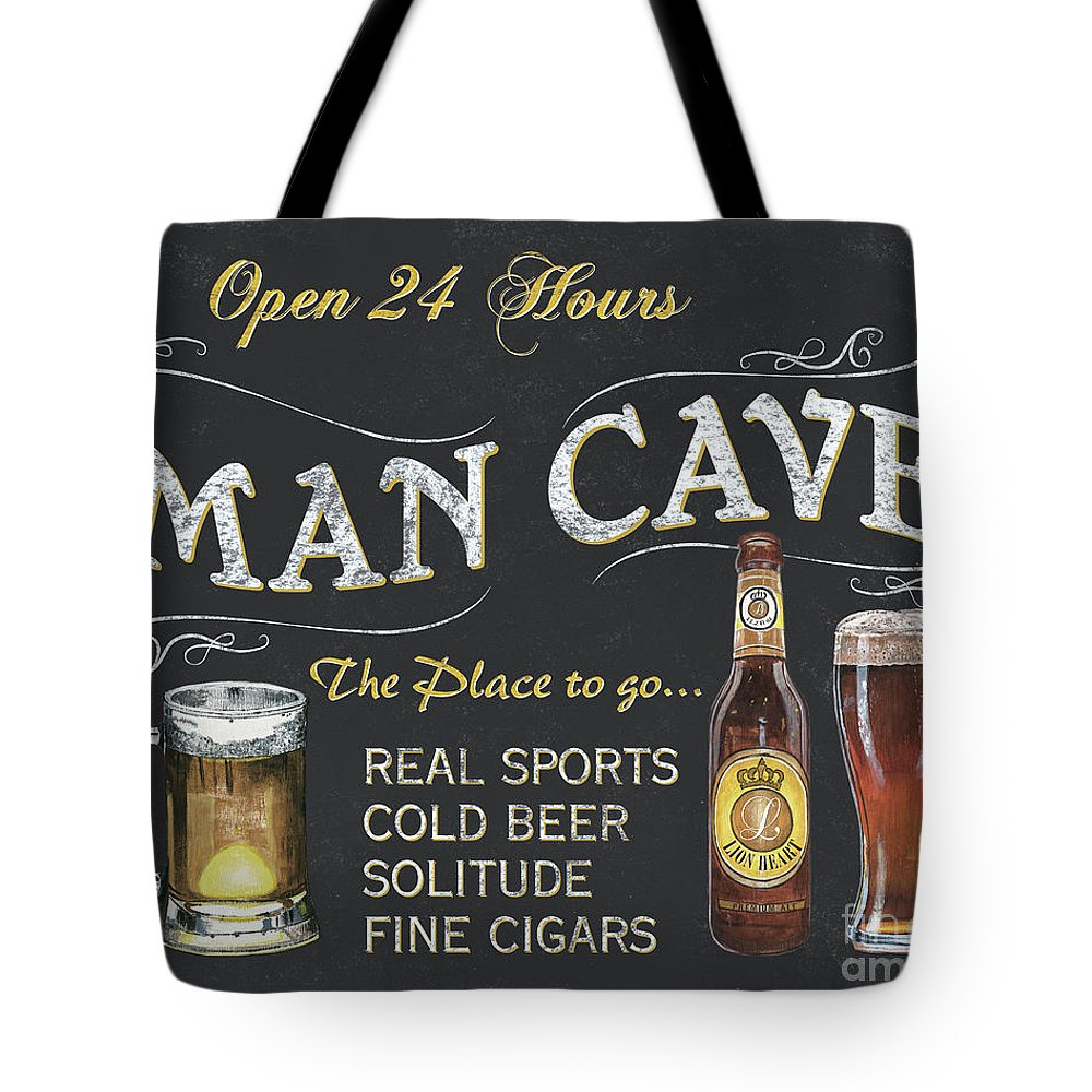 Sports Tote Bag featuring the painting Man Cave Chalkboard Sign by Debbie DeWitt