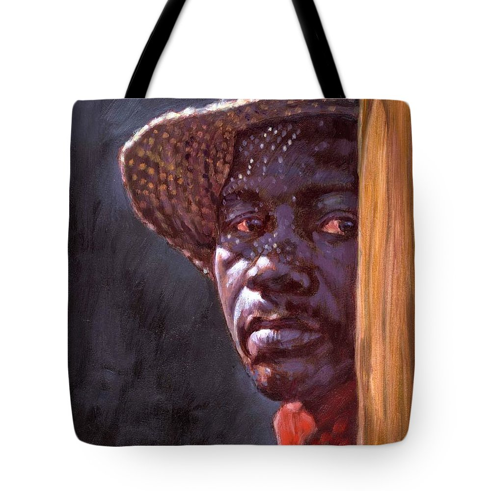 Black Man Tote Bag featuring the painting Man In Straw Hat by John Lautermilch