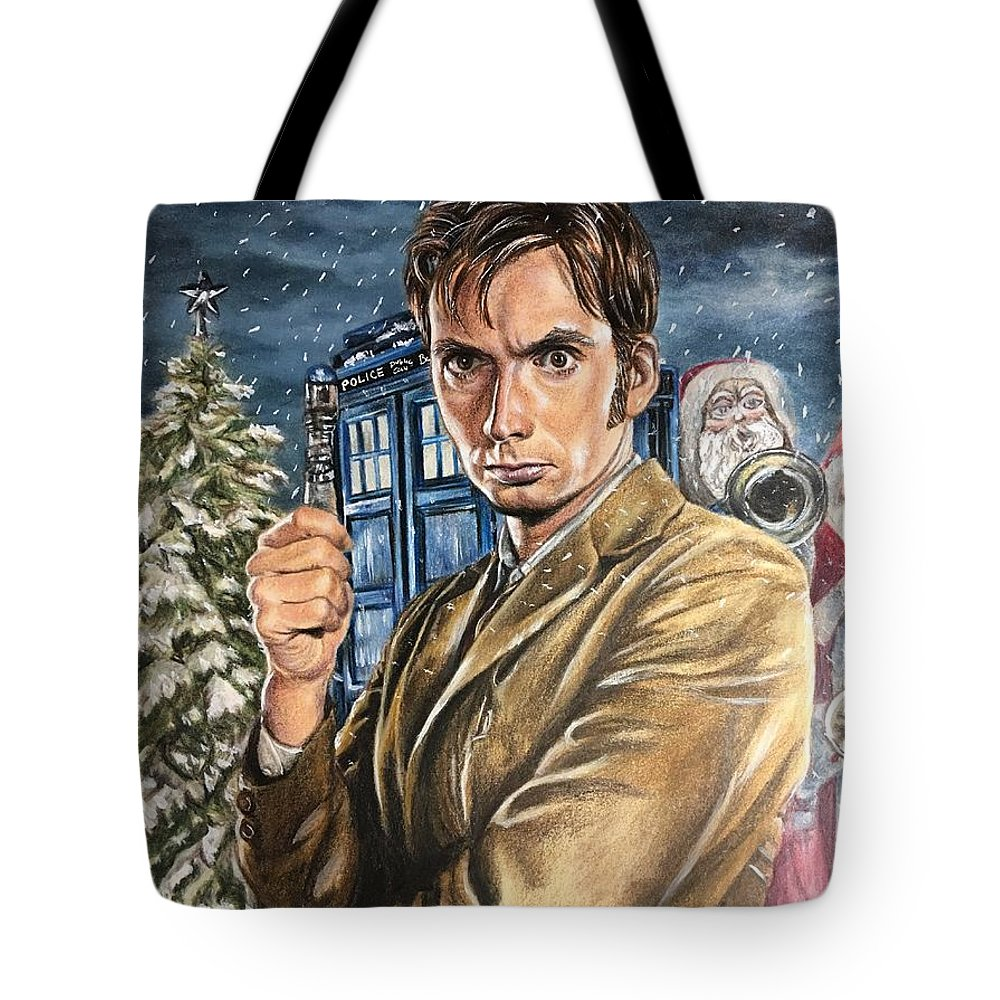 Dr. Who Tote Bag featuring the drawing Man In The Box by Debbie Fischer
