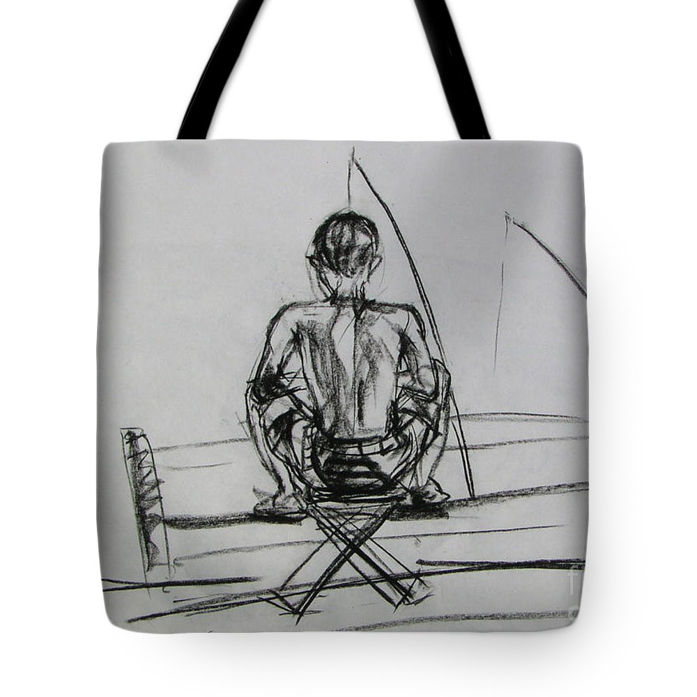 Tote Bag featuring the drawing Man In The Fishing Game by Sukalya Chearanantana
