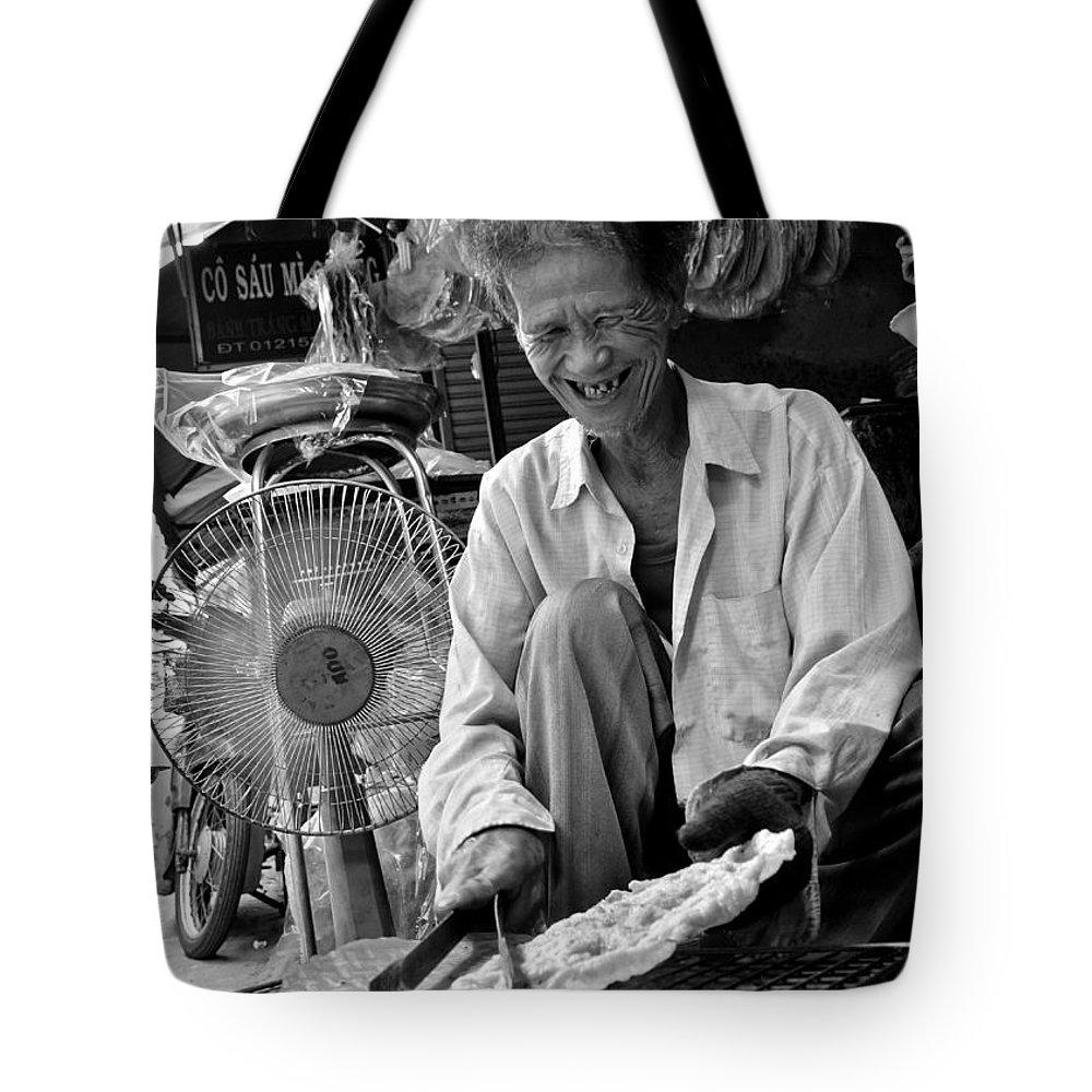 Man Tote Bag featuring the photograph Man Old Fun by Tran Minh Quan