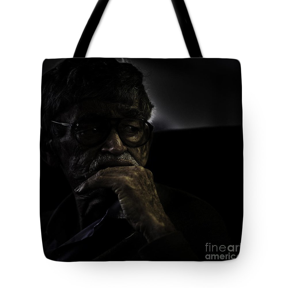 Portrait Tote Bag featuring the photograph Man On Ferry by Avalon Fine Art Photography