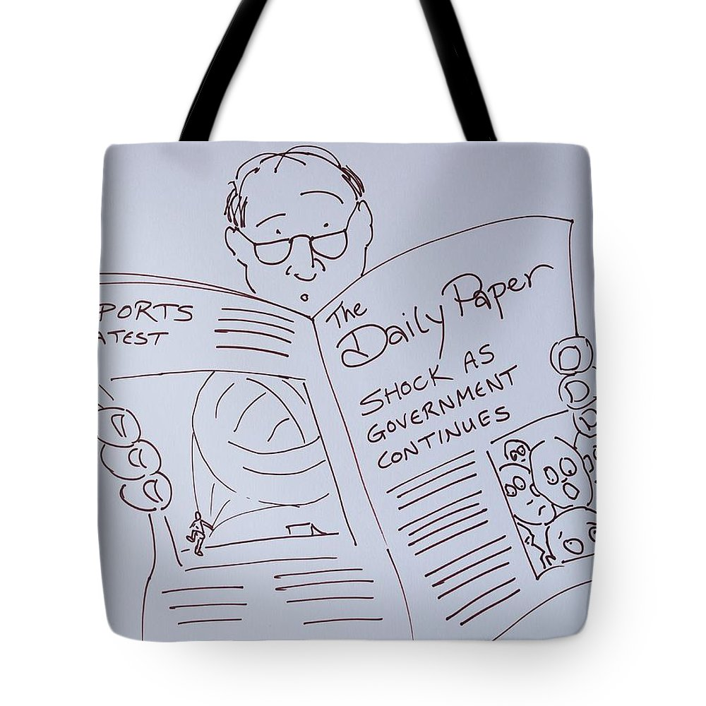 Man Reading A Newspaper Cartoon - What Is The World Coming To Tote Bag