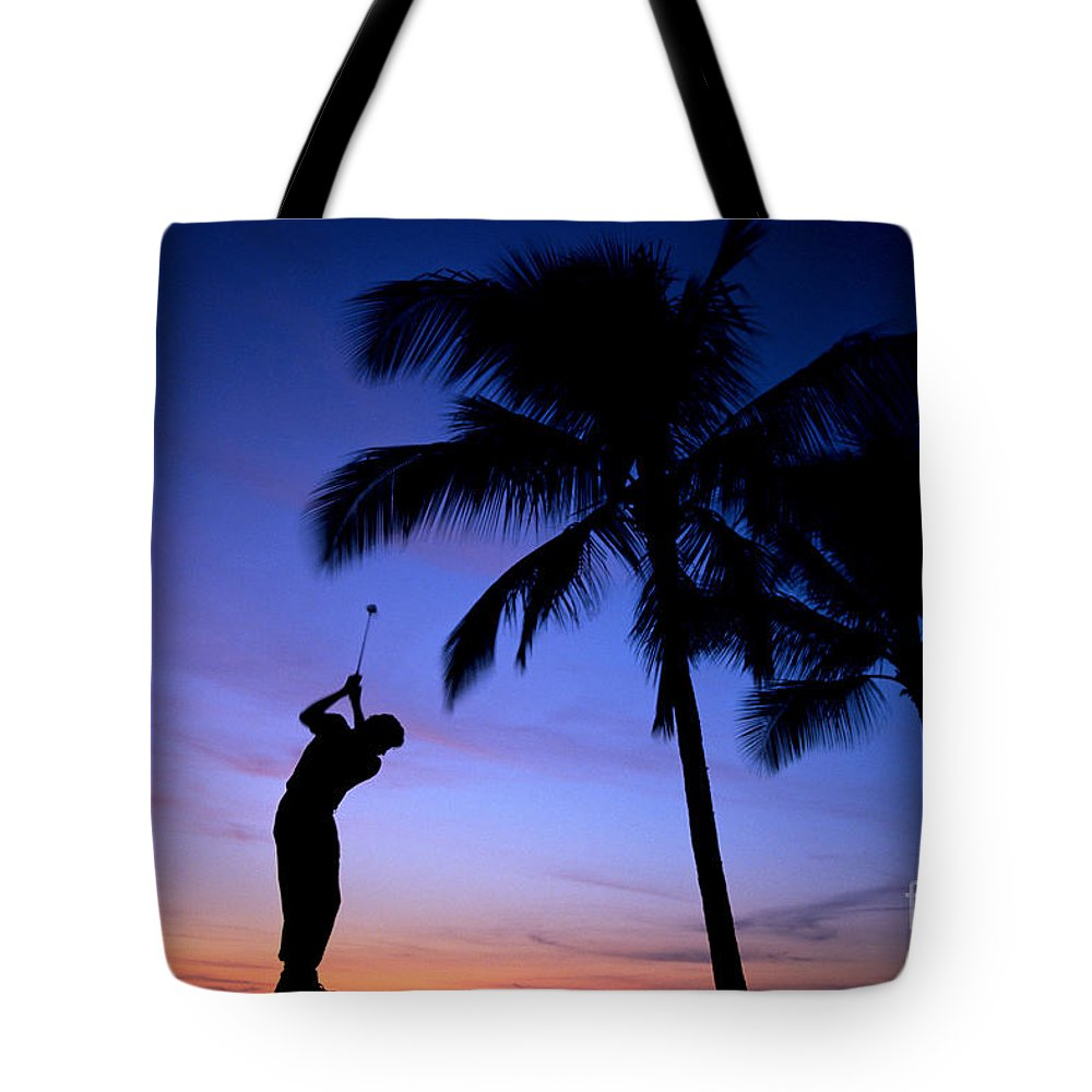 A17c Tote Bag featuring the photograph Man Swinging Driver by Kyle Rothenborg - Printscapes