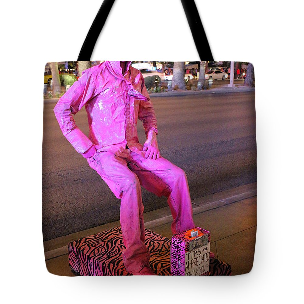 Las Vegas Tote Bag featuring the photograph The Man Who Sits In The Air by Iryna Goodall