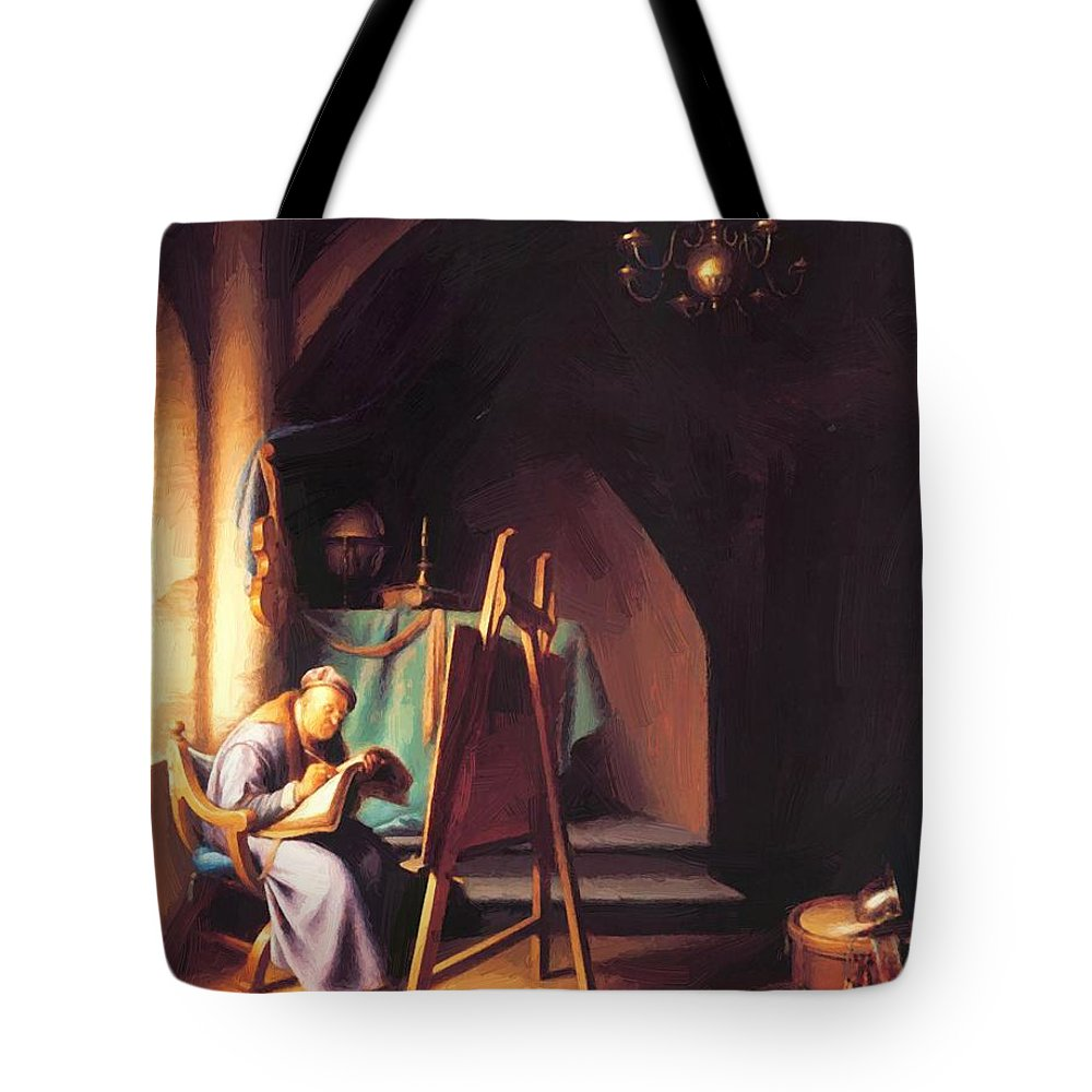 Man Tote Bag featuring the painting Man With Easel by Dou Gerrit
